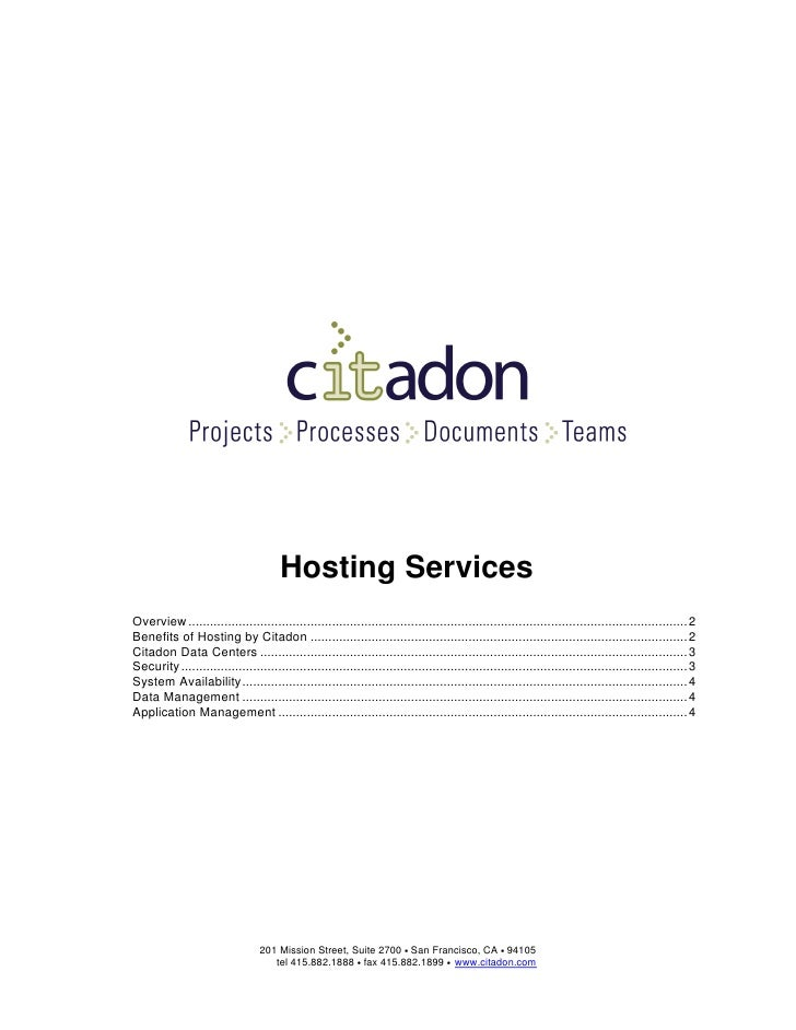 Hosting Services Overview ...................................................................................................