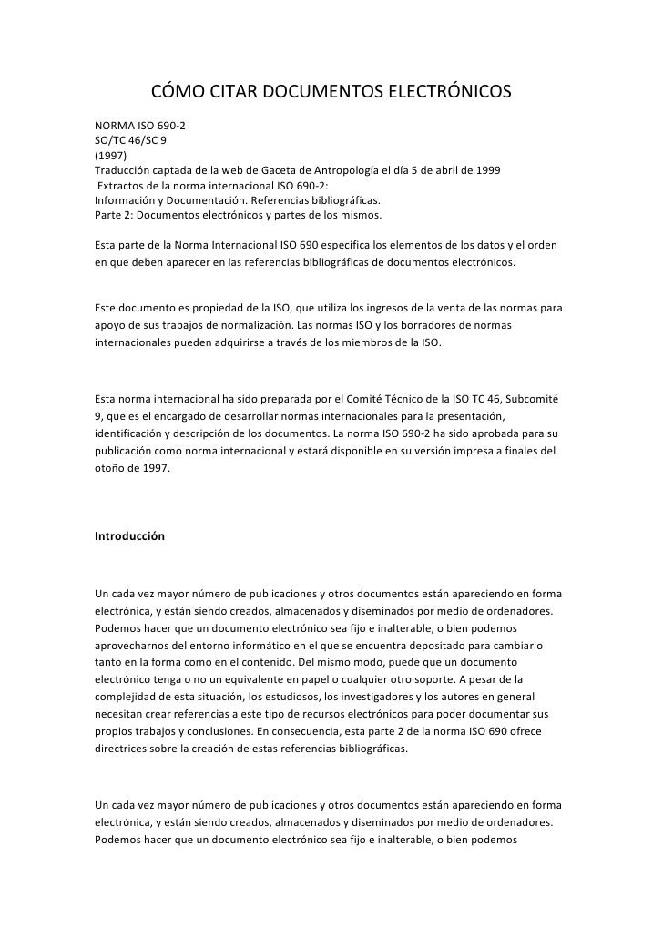 CÓMO CITAR DOCUMENTOS ELECTRÓNICOSNORMA ISO 690-2SO/TC 46/SC 9(1997)Traducción captada de la web de Gaceta de Antropología...