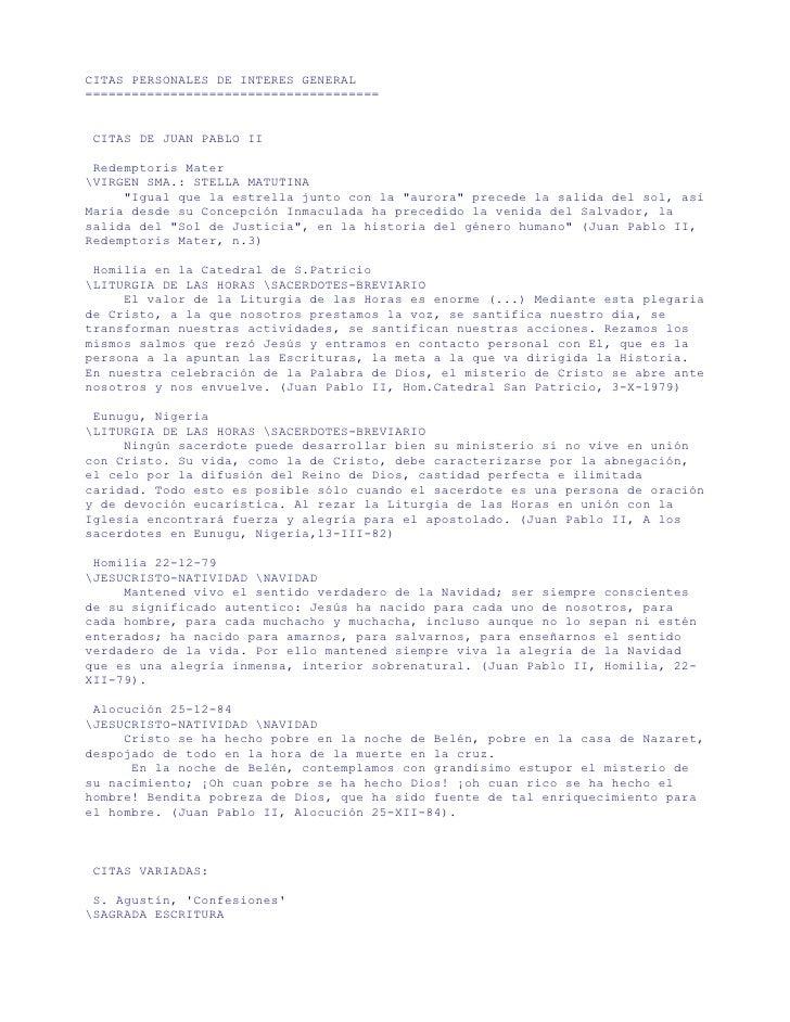 CITAS PERSONALES DE INTERES GENERAL ======================================    CITAS DE JUAN PABLO II   Redemptoris Mater V...