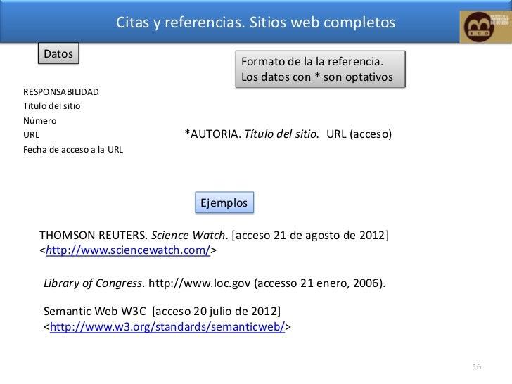 Citas de sitios web ejemplos