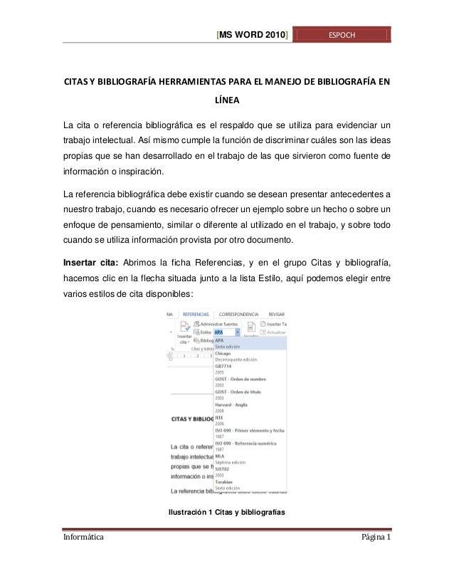 [MS WORD 2010]  ESPOCH  CITAS Y BIBLIOGRAFÍA HERRAMIENTAS PARA EL MANEJO DE BIBLIOGRAFÍA EN LÍNEA La cita o referencia bib...