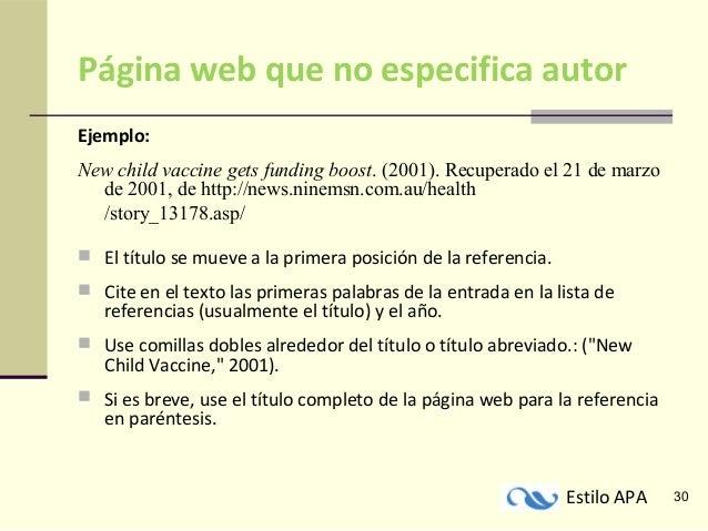 2. EJEMPLOS DE CITACIÓN DE UNA PÁGINA WEB EN APA