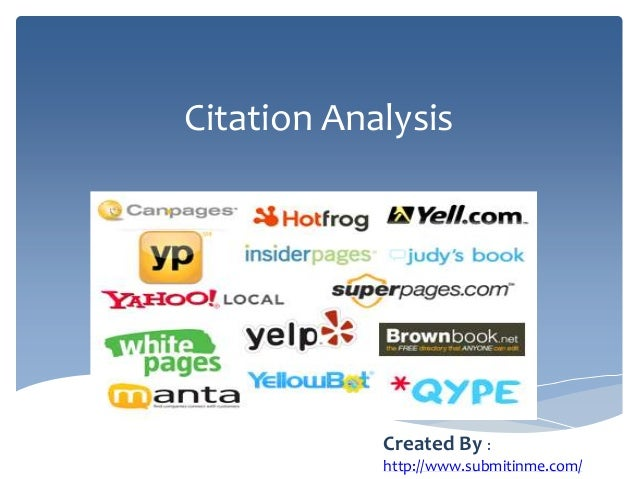 Citation AnalysisCreated By :http://www.submitinme.com/