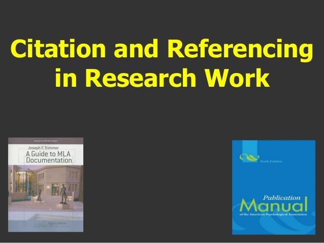 Citation and referencing in research work