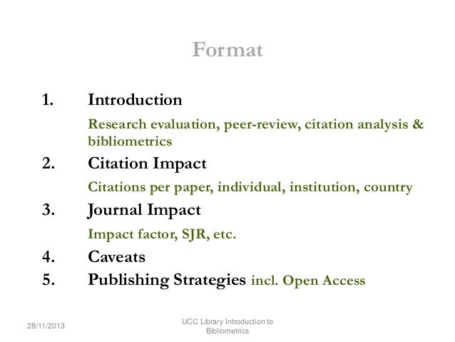 Citation Impact An Introduction To Bibliometrics For