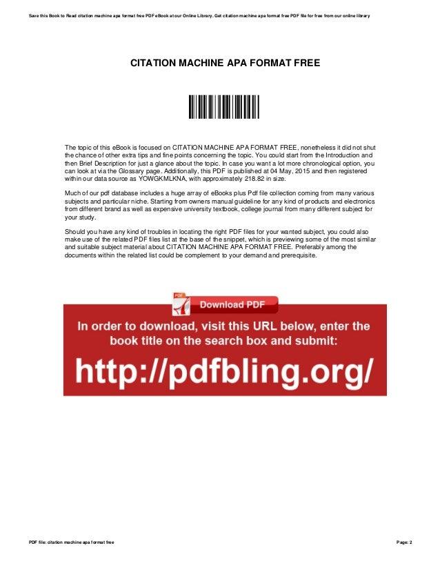 citation machine apa format free