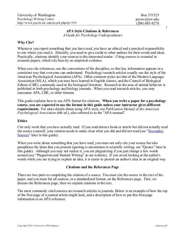 University of WashingtonPsychology Writing Centerhttp://www.psych.uw.edu/psych.php#p=339Box 351525psywc@uw.edu(206) 685-82...