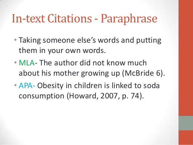 How to properly cite a paraphrase in mla