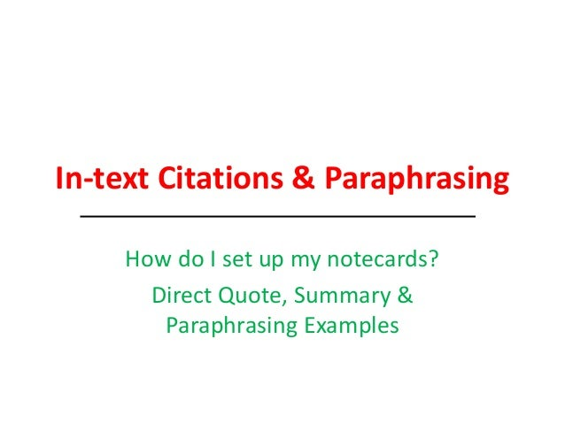 Do paraphrases need citations