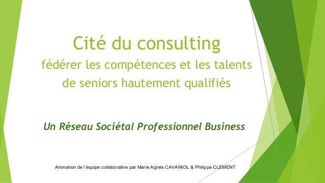 Cité du consulting fédérer les compétences et les talents de seniors hautement qualifiés Un Réseau Sociétal Professionnel ...