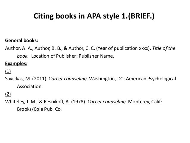 reference a book apa style Apa referencing guide apa style requires reference lists, not bibliographies if you need to cite from a book of readings.