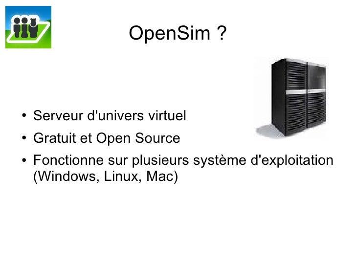Support pour la présentation OpenSim à la cité des sciences et de l'industrie Slide 2