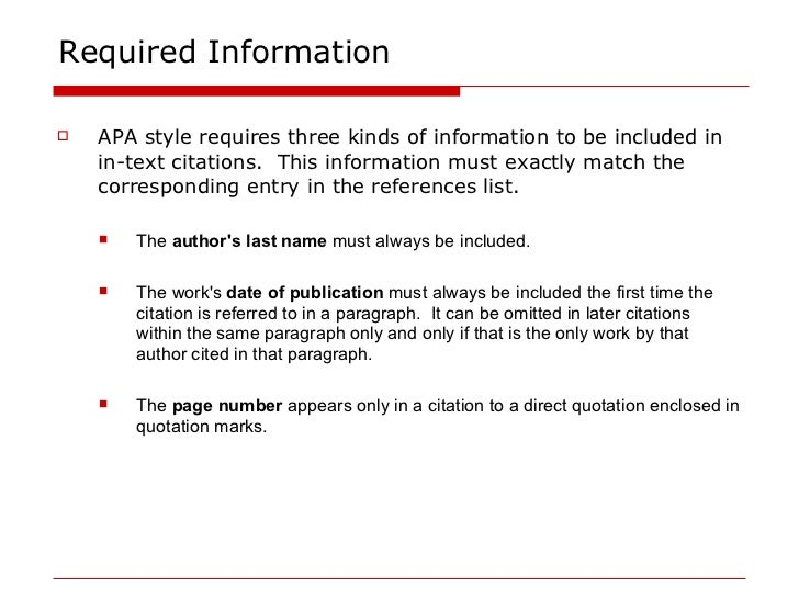 APA referencing elements
