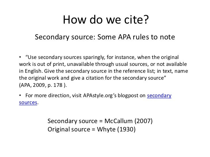 Cite it right advanced how do we cite secondary source some apa ccuart Choice Image