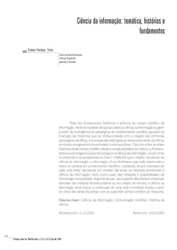 Ciência da informação: temática, histórias e                                                                              ...