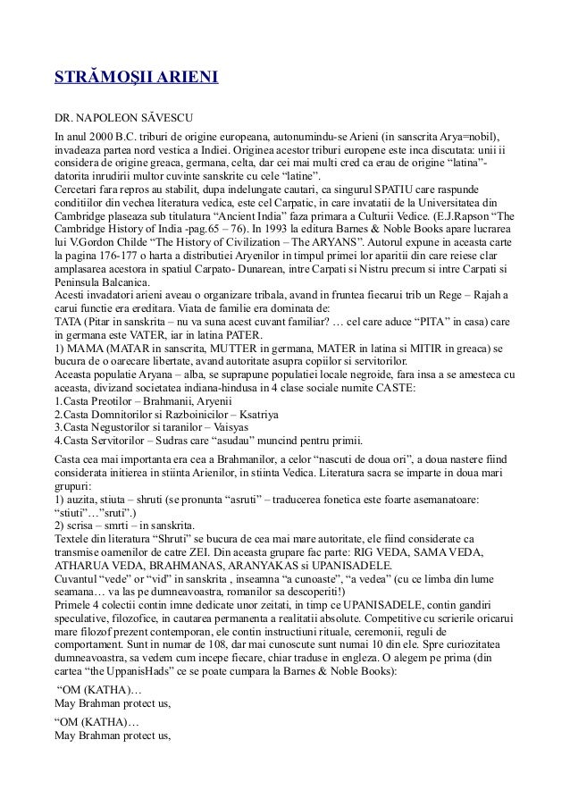 STRĂMOŞII ARIENI DR. NAPOLEON SĂVESCU In anul 2000 B.C. triburi de origine europeana, autonumindu-se Arieni (in sanscrita ...