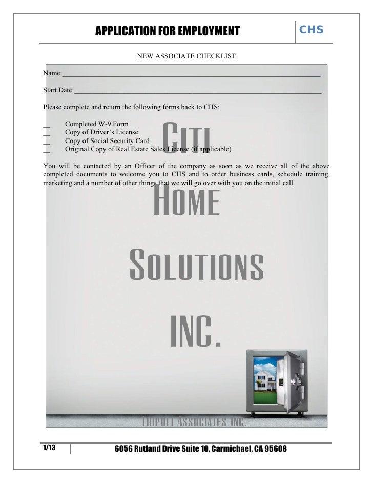 CHS                  APPLICATION FOR EMPLOYMENT                                 NEW ASSOCIATE CHECKLIST  Name:____________...