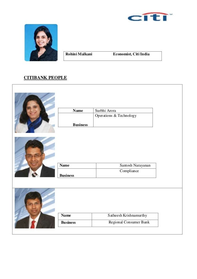 CITIBANK PEOPLE Name Surbhi Arora Business Operations & Technology Name Santosh Narayanan Business Compliance Name Sathees...