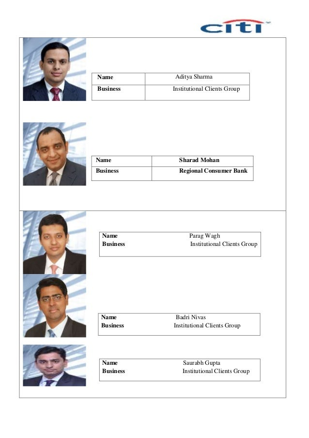 Name Aditya Sharma Business Institutional Clients Group Name Sharad Mohan Business Regional Consumer Bank Name Parag Wagh ...