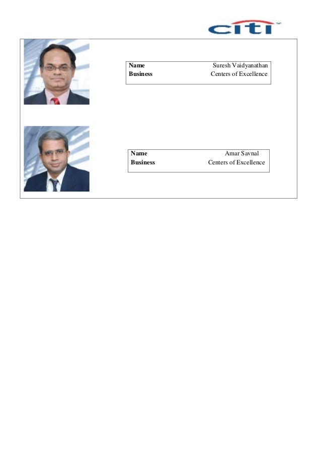 Name Suresh Vaidyanathan Business Centers of Excellence Name Amar Savnal Business Centers of Excellence