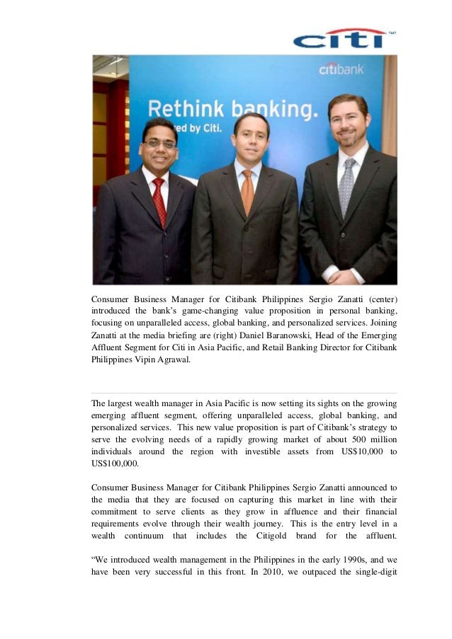 Consumer Business Manager for Citibank Philippines Sergio Zanatti (center) introduced the bank's game-changing value propo...