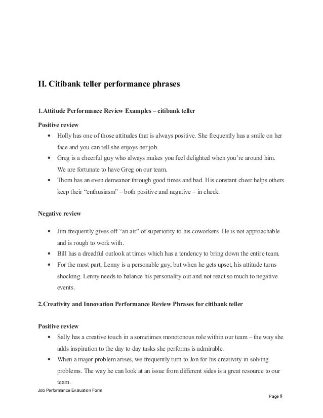 Citibank Teller Performance Appraisal