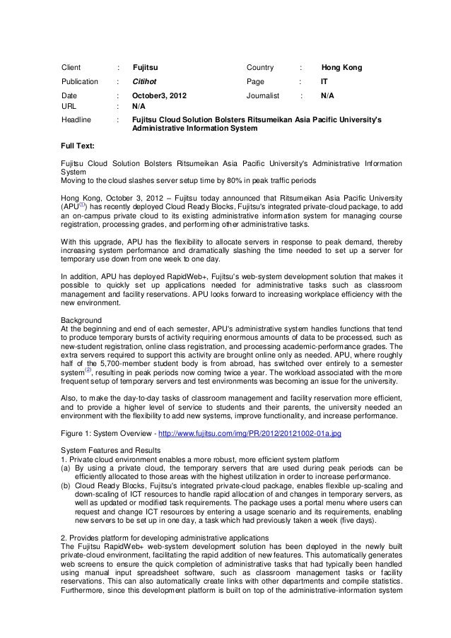 Client           :   Fujitsu                            Country         :      Hong KongPublication     :    Citihot      ...