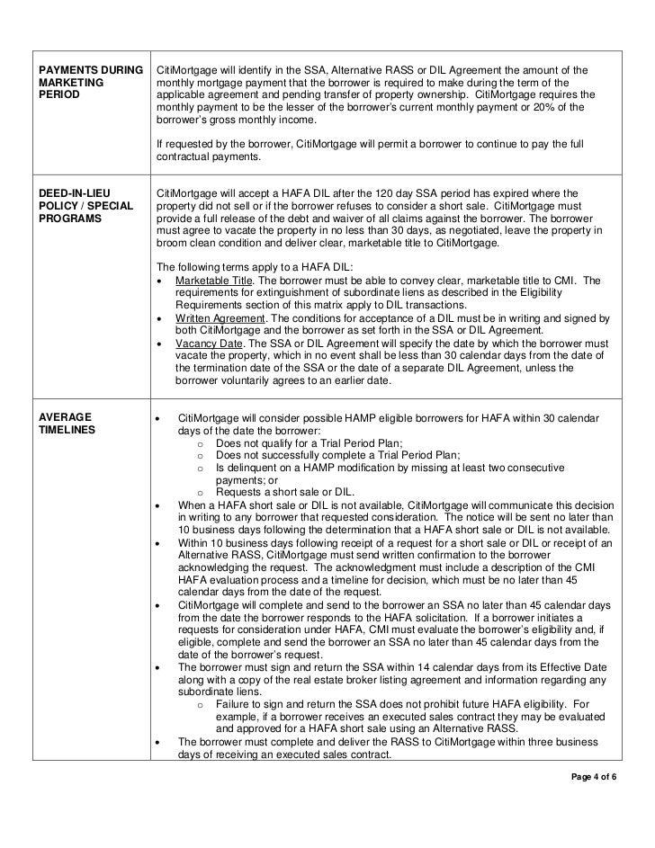 Citi mortgage homeaffordableforeclosurealternativematrix – Mortgage Commitment Letter