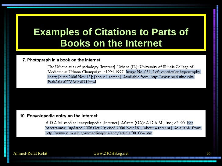 Examples of Citations to Parts of Books on the Internet