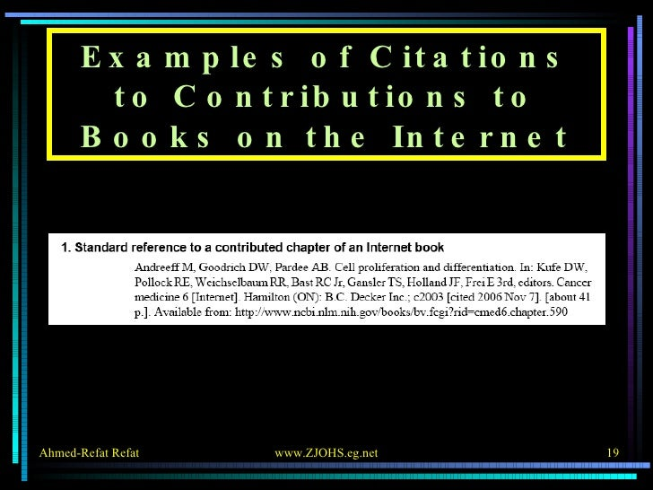 Examples of Citations to Contributions to Books on the Internet