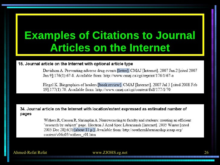 Examples of Citations to Journal Articles on the Internet