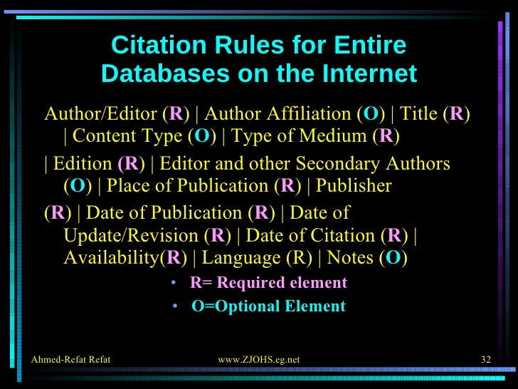 Citation Rules for Entire Databases on the Internet <ul><li>Author/Editor ( R )   Author Affiliation ( O )   Title ( R )  ...