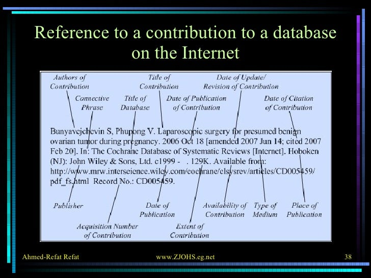 Reference to a contribution to a database on the Internet