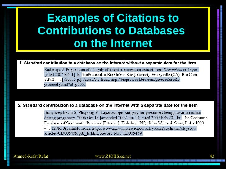 Examples of Citations to Contributions to Databases  on the Internet