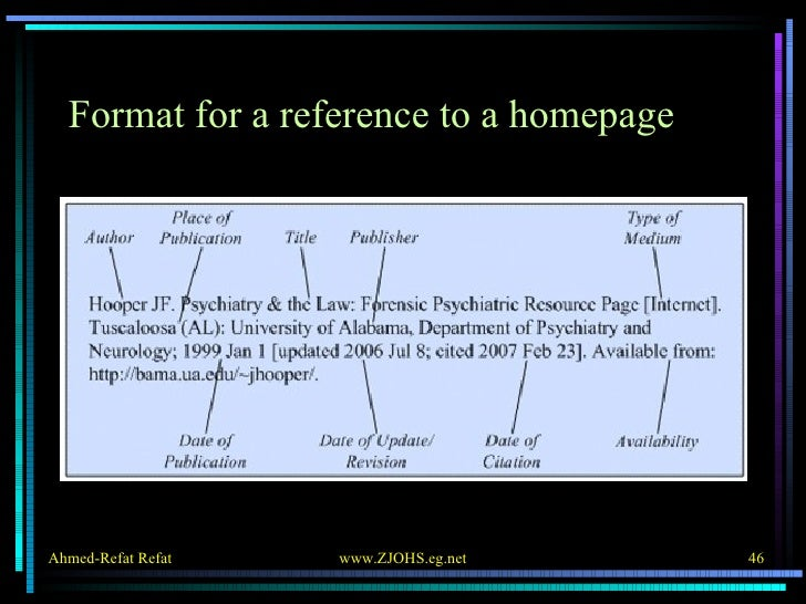 Format for a reference to a homepage