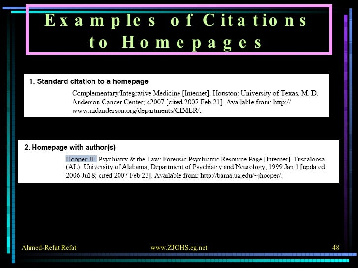 Examples of Citations to Homepages