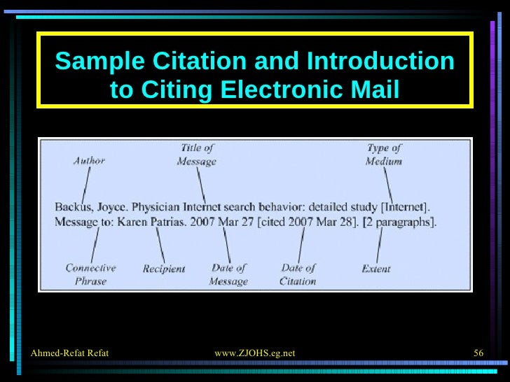 Sample Citation and Introduction to Citing Electronic Mail