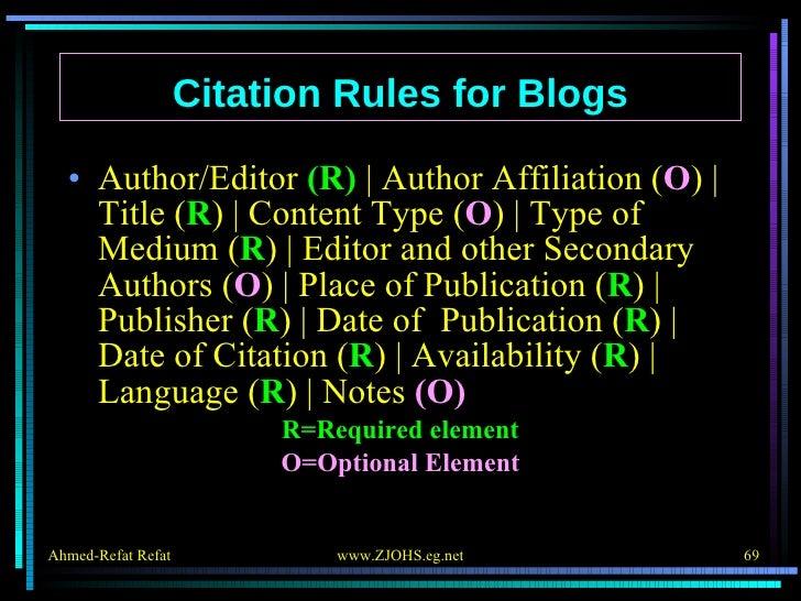 <ul><li>Author/Editor  (R)    Author Affiliation ( O )   Title ( R )   Content Type ( O )   Type of Medium ( R )   Editor ...