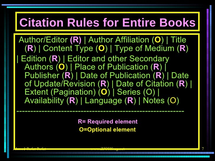 Citation Rules for Entire Books <ul><li>Author/Editor  (R)    Author Affiliation ( O )   Title ( R )   Content Type ( O ) ...