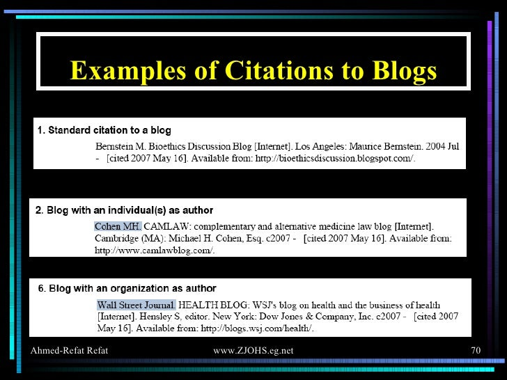 Examples of Citations to Blogs