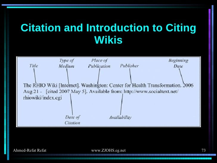 Citation and Introduction to Citing Wikis