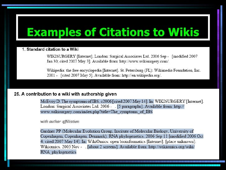Examples of Citations to Wikis