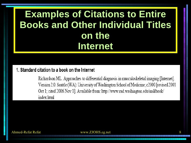 Examples of Citations to Entire Books and Other Individual Titles on the Internet