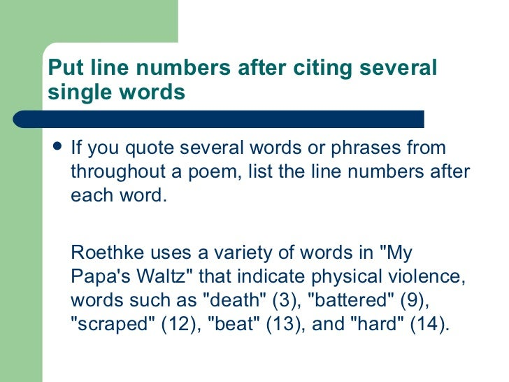 how to quote a line from a poem
