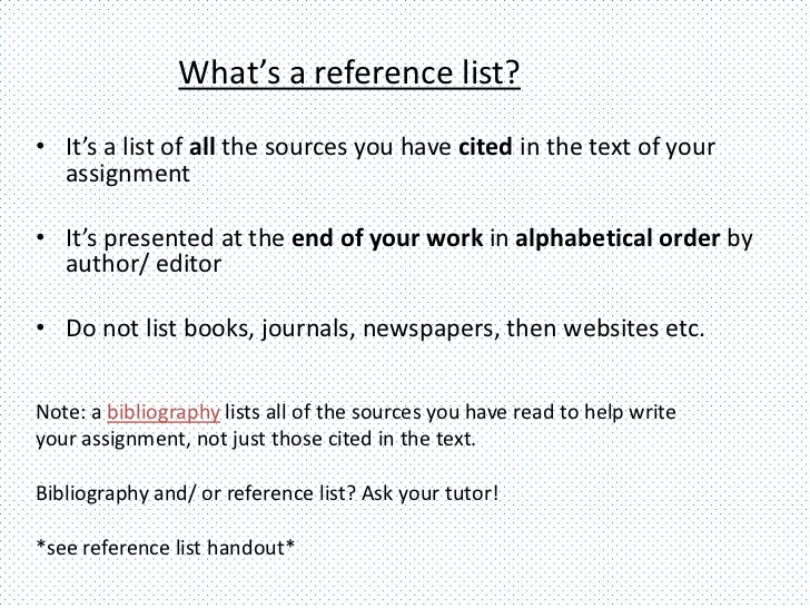 Harvard: Reference List and Bibliography