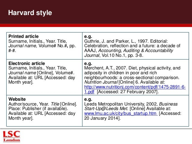 reference website essay harvard style