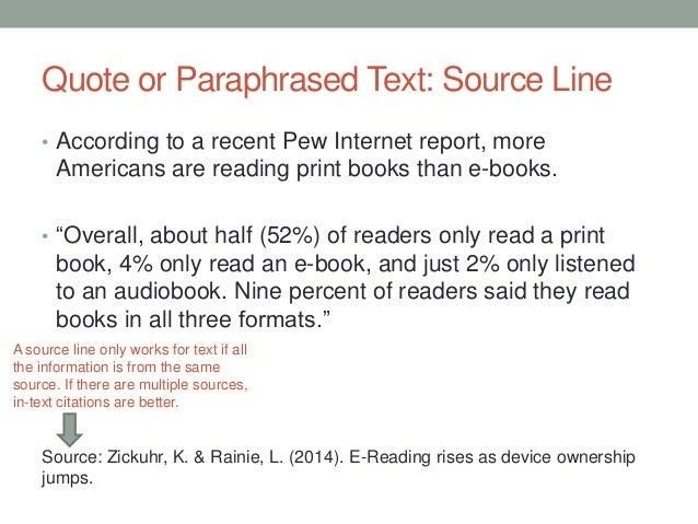 Do text citations book report