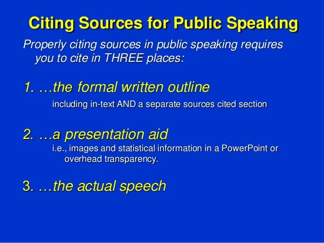 how to cite sources in a speech