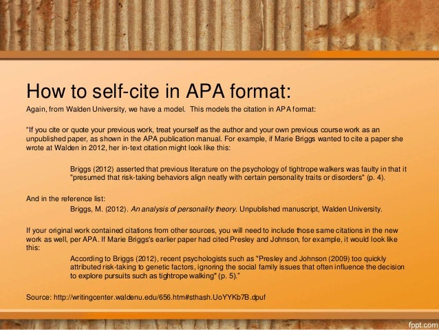 citing yourself citing your previous work in mla or apa format how to self cite in apa