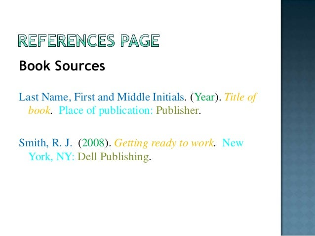 First And Last Name: Citing Your Sources